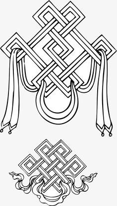 Buddhist auspicious knot PNG and Clipart Buddhist Wisdom, Buddhist Symbols, Tibetan Art, Tibetan Buddhism, Chest Tattoo Cover Up, Tattoo Stencils, Irezumi, Stencil Designs, Pattern Art