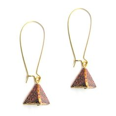 Indian pattern enamel work Pyramid earrings