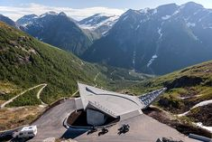 """Completed in 2016 in Norway. Images by Jiri Havran . The site is known as Utsikten (""""The View"""") and is a natural place to stop when driving over the Gaular mountain along the western coast of Norway. Western Coast, Concrete Structure, Fjord, Pedestrian Bridge, Art And Architecture, Norway, Scenery, Beautiful, Rest"""