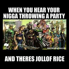....because #jollofrice; we mean #nigerianjollof  read our #comics; link in bio ... grab some jollof rice while you are at it and some hot chicken; perhaps from @chickenrepublic   cheers to the weekend   #Freecomics #insta #instahumor #hero  #GuardianPrime  #Ireti #Aje #Avonome  #Eru #HeroGeneration cc @jadewaziri #weareallguardians by comicrepublicmedia