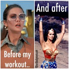 Exactly what a typical reaction is before and after a crazy workout!                                                                                                                                                      More