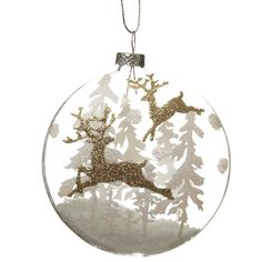 Hanging Glass Gold Glitter Deer Bauble