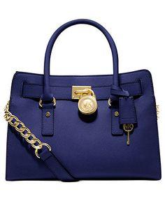 Loving the blue with the golden hardware.  MICHAEL Michael Kors Handbag, Hamilton Saffiano Leather