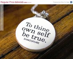SALE Shakespeare Inspirational Quote Necklace To by BookishCharm