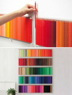 Plexiglass storage for colored pencils doubles as art. Cool.