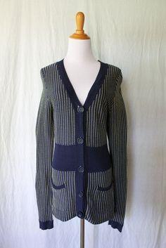 Kenar Provencal Blue & Yellow Woven Mercerized Cotton Cardigan Sweater Sz Small #Kenar #Cardigan
