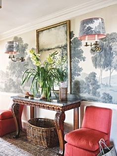 Google+ via @quintessence Tom Scheerer design, Zuber grisaille wallpaper. Exactly what I want for my Dream house front hall...