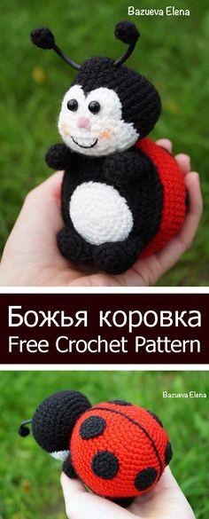 PDF Божья коровка. FREE amigurumi crochet pattern. Бесплатный мастер-класс, схема и описание для вязания игрушки амигуруми крючком. Вяжем игрушки своими руками! Божья коровка, жук, жучок, ladybug, bug, coccinella, marienkäfer. #амигуруми #amigurumi #amigurumidoll #amigurumipattern #freepattern #freecrochetpatterns #crochetpattern #crochetdoll #crochettutorial #patternsforcrochet #вязание #вязаниекрючком #handmadedoll #рукоделие #ручнаяработа #pattern #tutorial #häkeln #amigurumis Diy Crochet Doll, Crochet Baby, Amigurumi Patterns, Crochet Patterns, Diy Crochet Accessories, Ladybug Crafts, All Free Crochet, Soft Dolls, Felt Toys