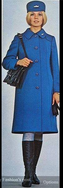 Electric Blue Vintage Uniform. Airline Uniforms