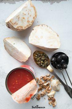 Zimowa caponata z selera » Jadłonomia · wegańskie przepisy nie tylko dla wegan Camembert Cheese, Food To Make, Chili, Dairy, Food And Drink, Lunch, Cooking, Recipes, Kitchen