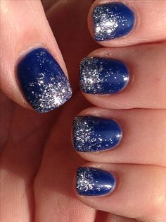Dallas Cowboys Nail Design - Ombré Glitter Nails for any Blue team or Winter Bling