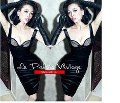 le palais vintage retro sexy black velvet corset low cut dress (SIZES: S,M,L)  #Handmade #Corset
