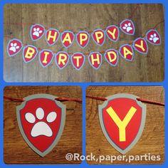 Banner de cumpleaños feliz patrulla pata tema por RockPaperParties