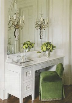 Pretty use of dressy sconces on this vanity mirror.