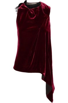 Burgundy and black velvet, black lace Ties at neck 74% viscose, 16% silk, 10% polyester; lining: 100% silk Dry clean Made in the UK