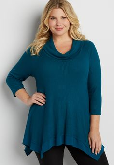 plus size cowl neck waffle knit tunic top with hanky hem (original price, $39.00) available at #Maurices