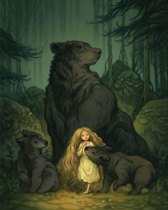 Digital art illustration; nature scene of little girl with bears in a forest Nesta página em http://publicidademarketing.com/bancos-de-imagens/ recomendamos apenas #bancosdeimagens com serviços e opções de alta qualidade que são devidamente enquadradas nas leis em vigor.