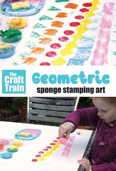 Simple geometric stamping art activity for kids. This is a  process art idea for kids of all ages which also incorporates a stem element using geometric shapes. Great for practicing shape recognition, patterning, design and also just for creative fun. #thecrafttrain #processart #geometry #shapes #printing #stamping #sponges #funartideas #kidsart #creativeartforkids #kidsactivities Creative Activities For Kids, Creative Play, Easy Crafts For Kids, Preschool Activities, Art For Kids, Process Art, Arts And Crafts Projects, Geometric Shapes