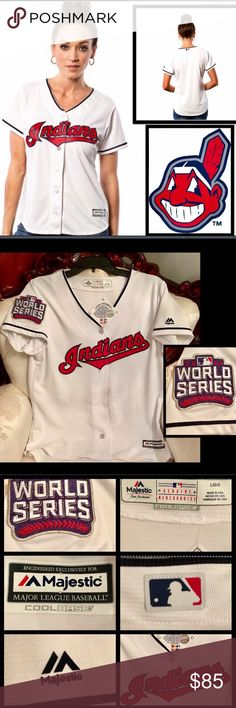 🆕Majestics⚾️Women's Cleveland IndianCool Jersey Cleveland Indians Jersey features tackle twill,graphics and is outfitted w/Cool Base technology to keep U dry/comfortable⚾️Product ID⚾️#1938957⚾️Feminine Cut⚾️Not too slim,not too loose⚾️💯% PolyesterCool Base technology is made interlocking moisture-wicking fabric a lightweight,breathable feel⚾️Curved hem and back drop-tail⚾️MLB Batterman patch on back neck⚾️Heat-sealed jock tag left hem⚾️Sewn-on tackle twill graphics⚾️Officially…