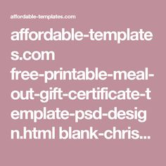 Printable gift certificate template instructions t i p s affordable templates free printable meal out gift certificate yadclub Image collections