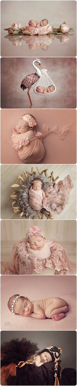 Custom newborn photos for a girl.  Digital newborn composites.  Flyers newborn photo ideas.