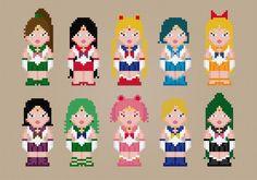 Sailor Moon Scouts - PDF Cross Stitch  pattern on Craftsy.com