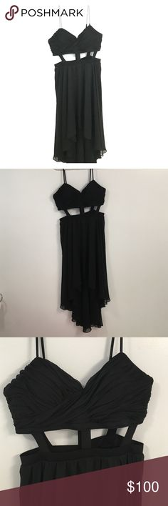 Beautiful Arden B Black Dress Large This is a very beautiful dress- never worn! Longer in the back...size large 95% polyester 5% spandex; skirt 100% polyester. Zipper in the back Arden B Dresses Maxi