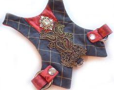 Small Dog Harness Dress Black Silk Filigree by FooFooFido #SmallDog #dogharness