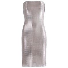 1990's Calvin Klein Collection Silver Metallic Strapless Cocktail... (4.730 RON) ❤ liked on Polyvore featuring dresses, metallic silver dresses, mesh cocktail dress, strapless cocktail dresses, calvin klein collection and strapless dresses