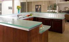 Glass Countertop - Kitchen Design via www.trendsi.com