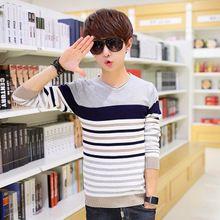 Áo len dệt kim nam cổ tròn, phối màu nổi bật, phong cách Hàn Quốc