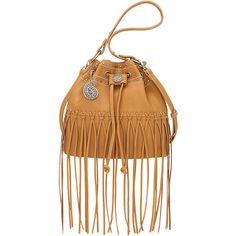 Bandana Rio Rancho Drawstring Bucket Shoulder Bag ($67) ❤ liked on Polyvore featuring bags, handbags, shoulder bags, manmade handbags and tan