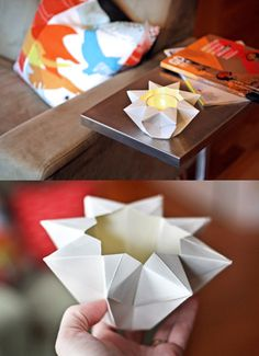 origami star candel from Passengers on a Little Spaceship