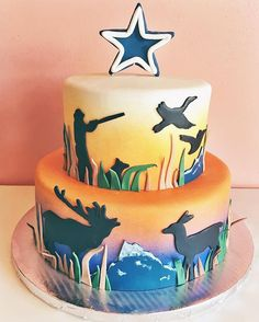 Hunting and fishing themed grooms cake with blue marlin mallard