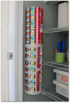 4. Create A Wrapping Paper Holder In Your Closet!