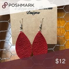 Handmade leather earrings Gorgeous red shimmer leather earrings. 2 inches in length Jewelry Earrings