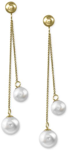 Cultured Freshwater Pearl 6mm And 7mm Drop Earrings In 14k Gold