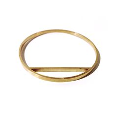"""Cast brass bangle. small/mediumdiameter 2.6""""perimeter 7.63""""medium/largediameter 2.76""""perimeter 8.87""""Each piece has a brush finish.Please keep in mind slight variances in each piece due to the nature of handmade work."""
