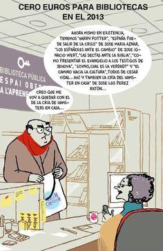 Recortes bibliotecarios, por Gallardo - Library budget cuts, by Gallardo