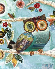 A Watchful Friend Blue-Breasted Owl art by Lori Siebert