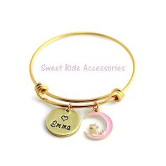 Personalized Little Girls Gold Bangle Bracelet • Cat On The Moon Charm Bracelet (For Little Girls 5-10 Years Old) Cat Jewelry with Name