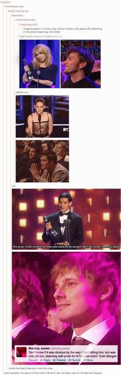 [gifs] imagineyourotp:  Imagine person A of your otp wins an award, and person B is standing in the crowd beaming with pride
