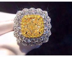 Gem Select Crafts Yellow Diamond Engagement Ring in White Gold Jar Jewelry, Jewelry Shop, Gemstone Jewelry, Gold Jewelry, Fine Jewelry, Jewelry Design, Fashion Jewelry, Jewelry Making, Jewellery