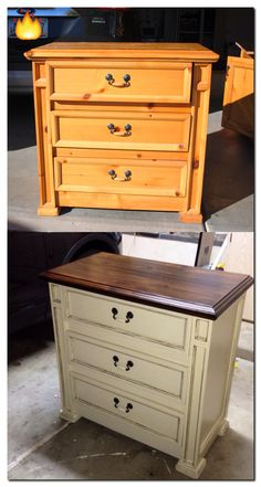 "Pimp my ride? No. It's ""Pinterest my knotty pine nightstand"". 1. Stripped with Citristrip 2. Stained with Rustoleum in Kona 3. Painted with homemade chalk paint in Benjamin Moore Clay Beige 4. Antique glazed with Valspar Asphaltum 5. Sealed with Minwax Polycrylic....Taddow!"