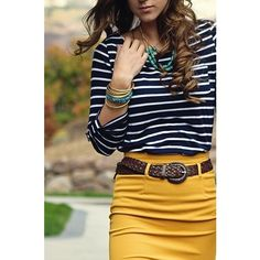 mustard yellow belted pencil skirt with navy striped top. Teal accents.