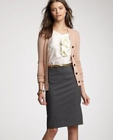 Classic work attire: pencil skirt and silk long sleeved blouse ...