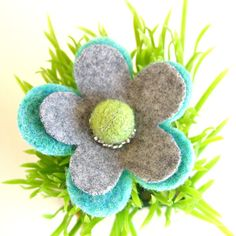 Felted Wool Flower Pin/ Brooch in Aqua Lime and Grey by FishHollow, $10.50
