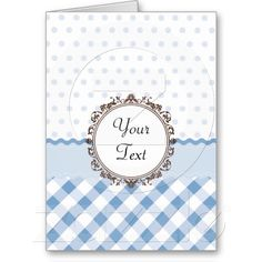 Blue Polkadots, Checks and Stripes with Monogram cards