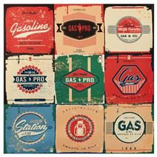 Collection Of Retro Gasoline Signs / Motor Oil / Vintage Background Stock Vector Illustration 171072983 : Shutterstock Background Vintage, Business Card Design, Royalty Free Stock Photos, Symbols, Signs, Retro, Illustration, Artist