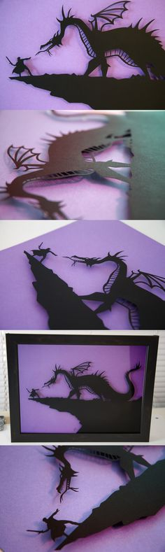 Prince Phillip vs. Maleficent as dragon handcut paper craft (15x19) http://www.etsy.com/listing/117919217/prince-phillip-vs-maleficent-as-dragon